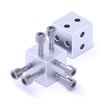 UNIQB 3D Construction Set. Threaded and Unthreaded cubes